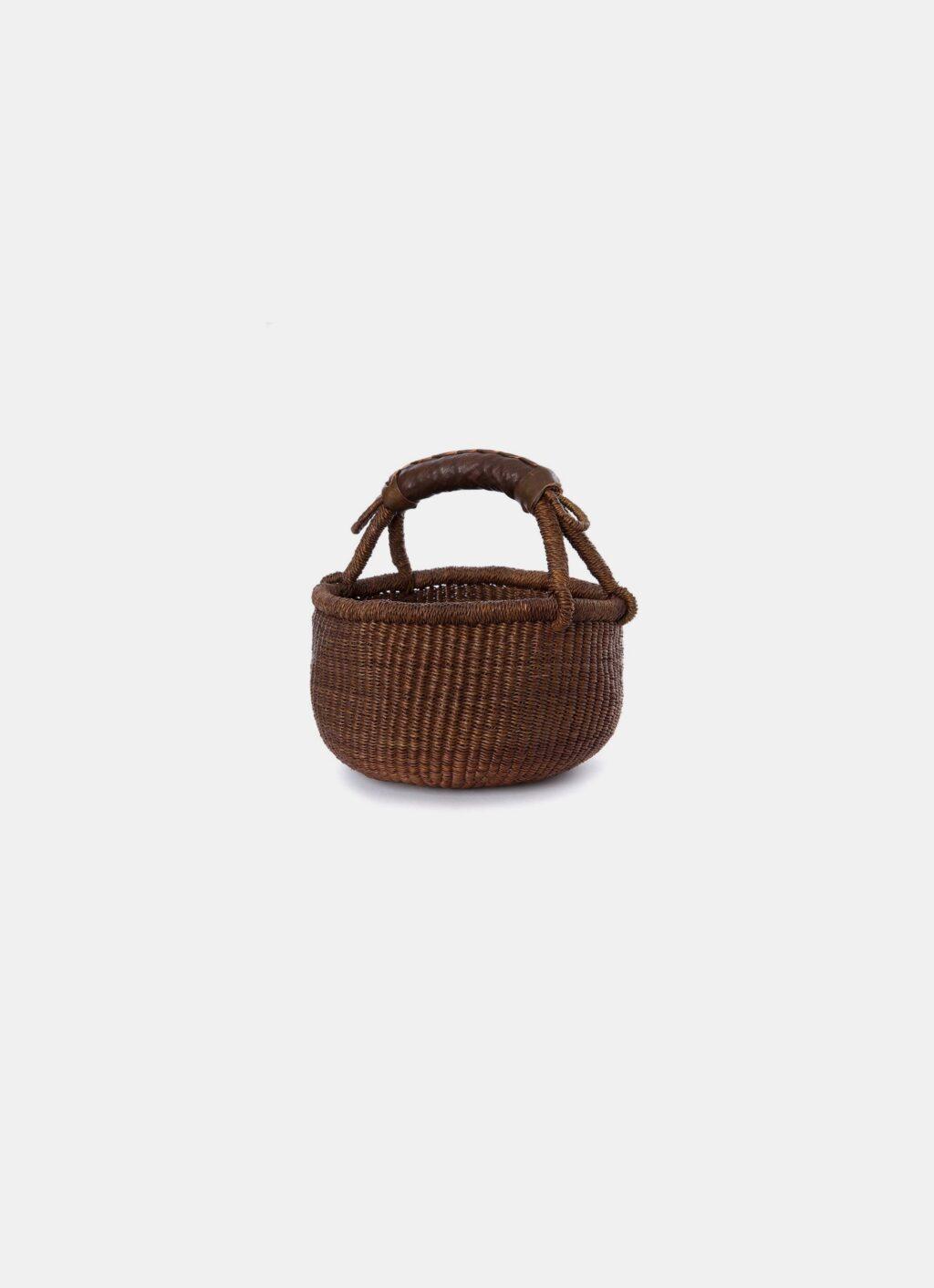 Handwoven African Basket - Mini Bolga basket - Dark brown