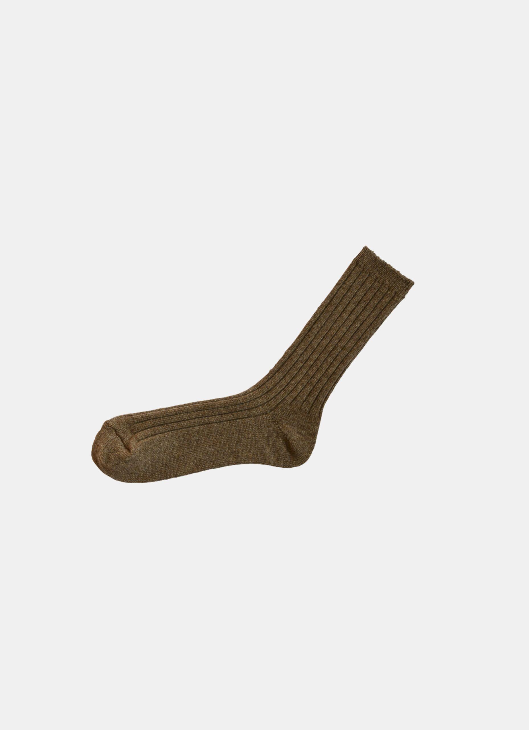 Nishiguchi Kutsushita - Cashmere Ribbed Socks - dif. sizes - Amber