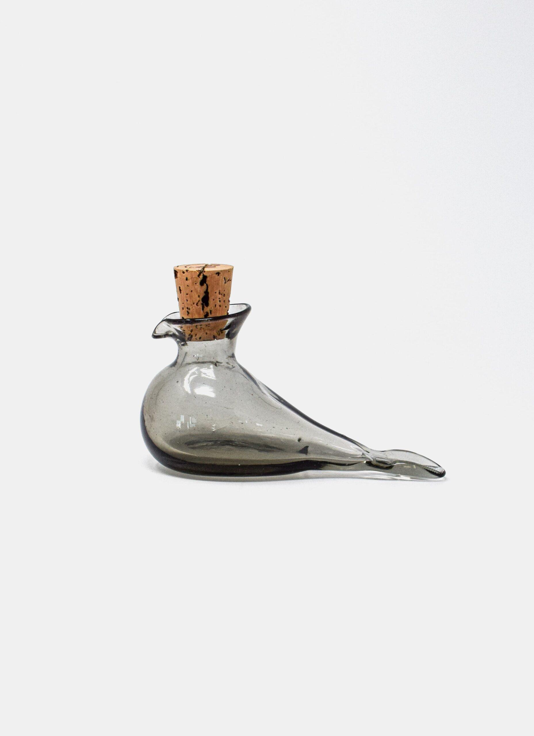La Soufflerie - Handblown glass - Petit Oiseau - Glass Bottle - Smoke